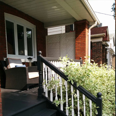 Side view of deck repainting in Leslieville, Toronto, ON